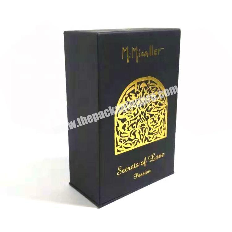 High Quality Luxury Black Cardboard Paper Packaging Perfume Gift Pack Box