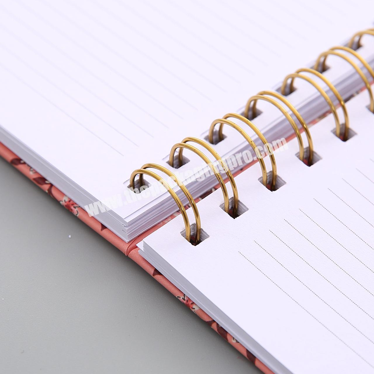 High Quality Paper Bound Cardboard Thick Notebook Notes With Spiral Gold Silver Ring Binding PVC PP Cover Ruled Notepad Printing