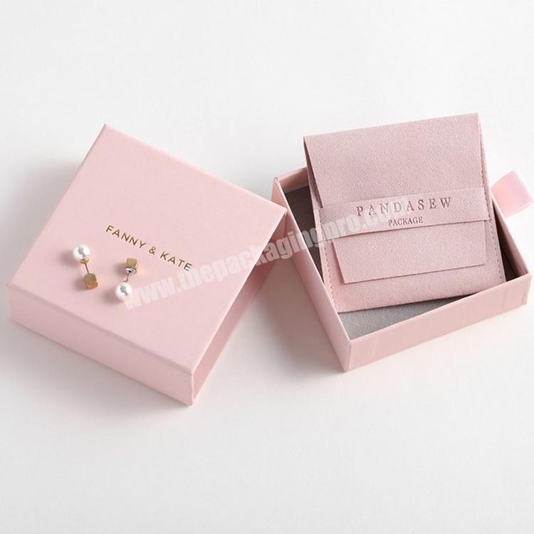 High Quality Pink Jewelry Box Kraft Paper Favour Bulk Gift Display Boxes Bag Necklace Bracelet Box