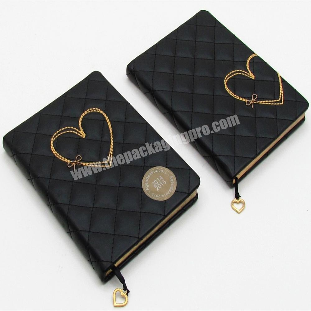 Custom High Quality PU Leather Cover Student Notebook A5 Cute Heart Diary For Girl