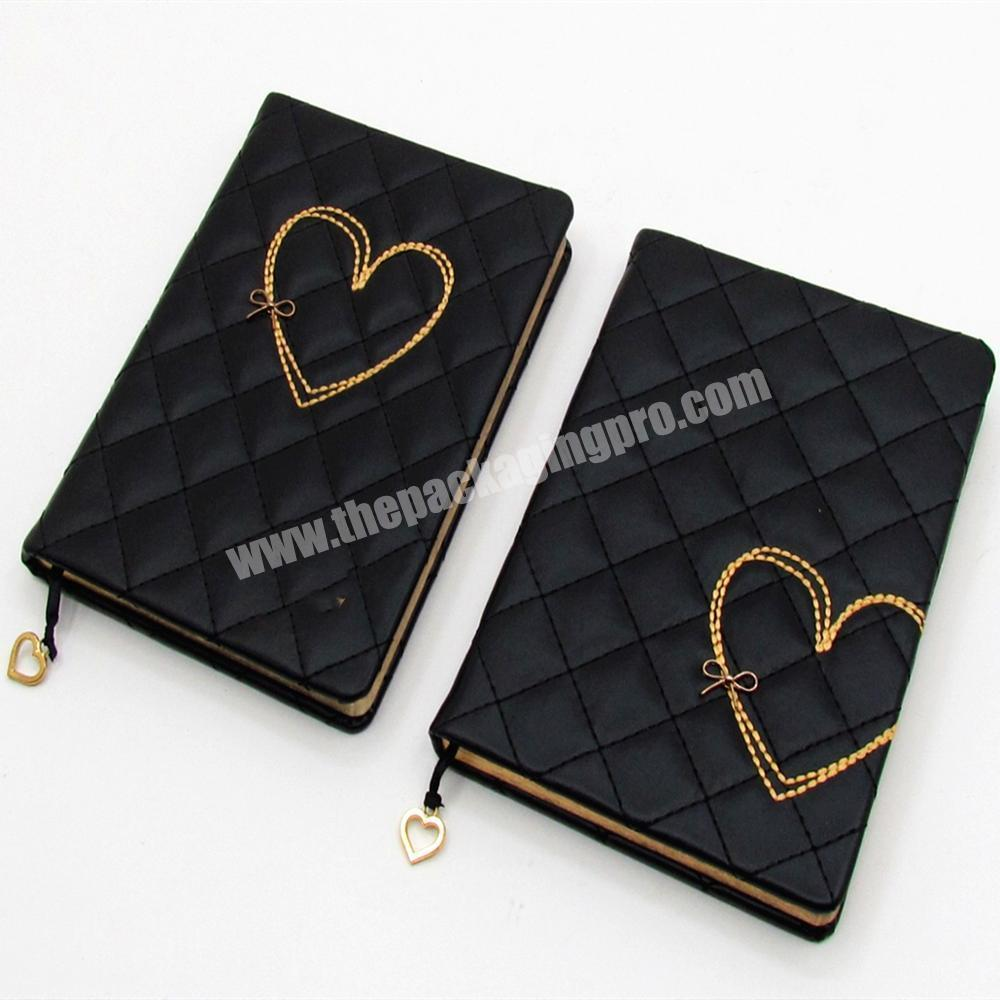 Manufacturer High Quality PU Leather Cover Student Notebook A5 Cute Heart Diary For Girl