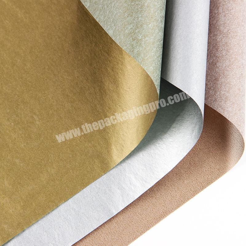 High quality tissue  paper for wine bottle metallic Color golden silver Printed Cotton Wrapping Paper