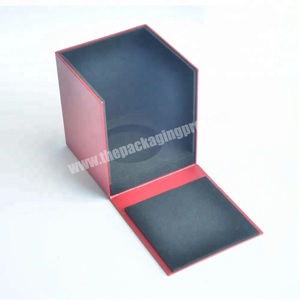 Hot Sale Flip Cover Perfume Packaging Handmade Box Red Leather Coated Paper Boxes