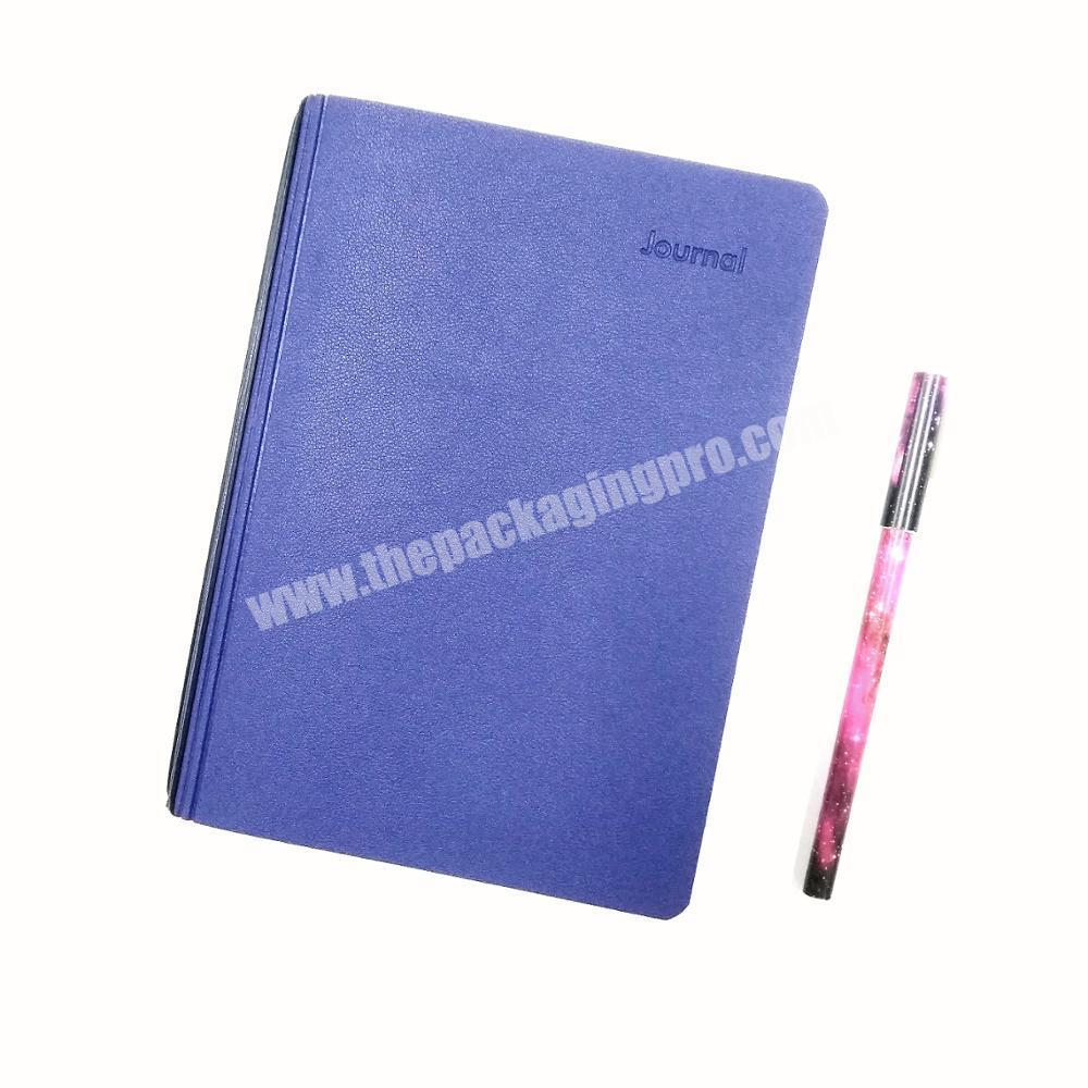 Hot Sale PU Leather Cover  Diary Custom Embossed Logo Notebook School Journal