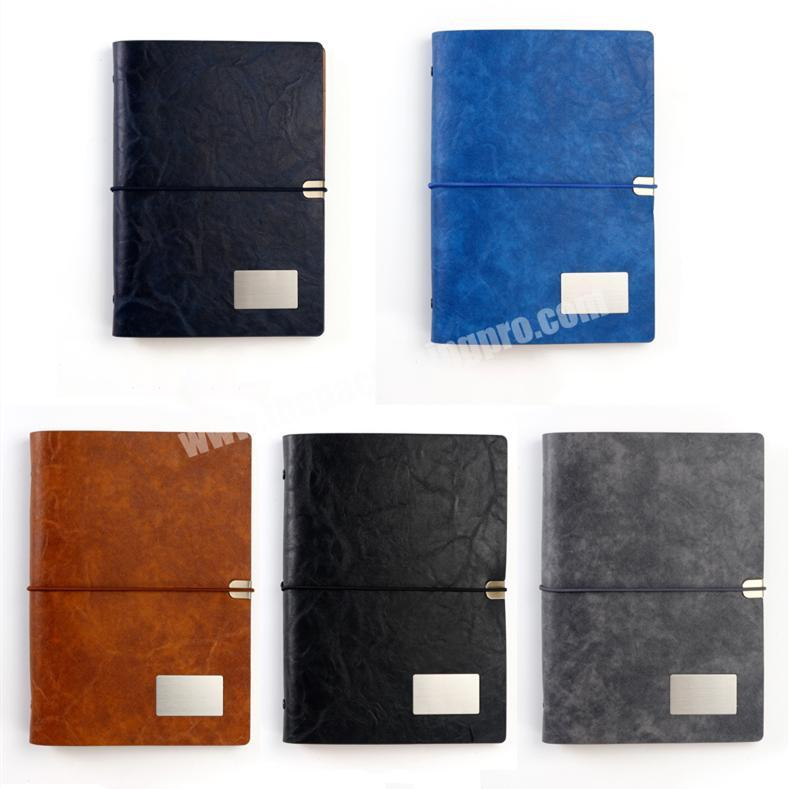 Factory Hot Sale PU Leather Notebook Custom Logo Elastic Strap Planner Loose-leaf Diary