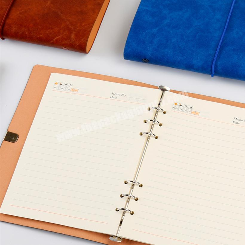Supplier Hot Sale PU Leather Notebook Custom Logo Elastic Strap Planner Loose-leaf Diary