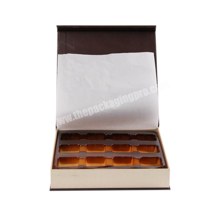 Hot selling 2018 luxury custom paper packaging with ribbon chocolate magnetic gift box