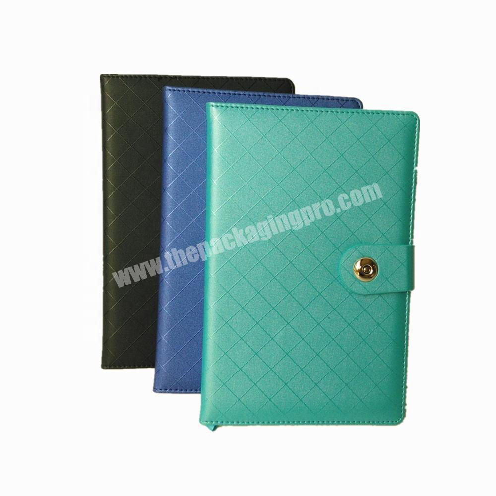 Hot Selling A5  PU Leather Notebook Office School Custom Logo Diary With Button
