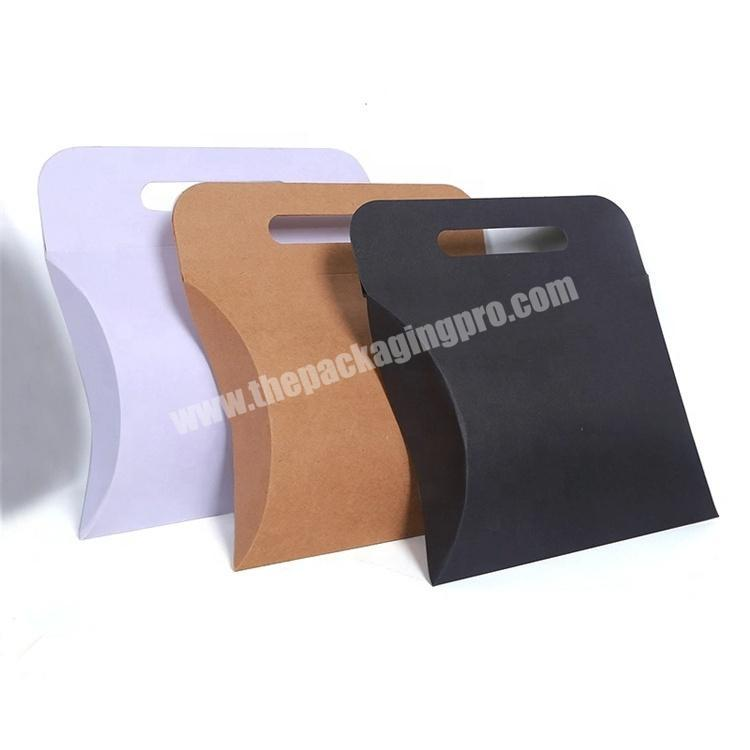 Kraft Pillow Paper Box with Die Cut Handle Logo Printing