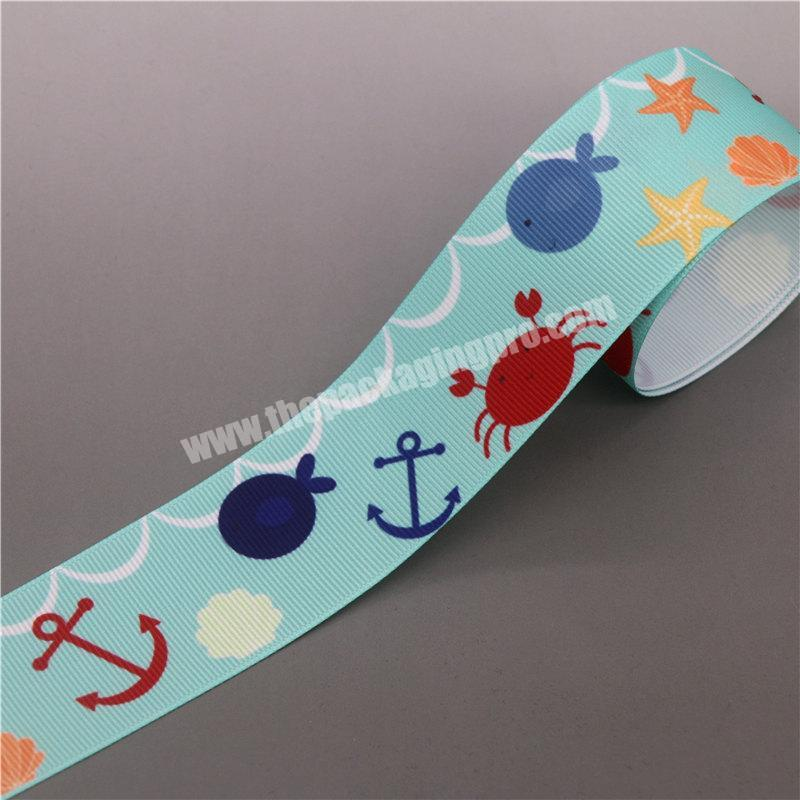 Large Cheap Stock Colorful Customized Printed 100% Polyester 40mm Grosgrain Ribbon For Hair Bow
