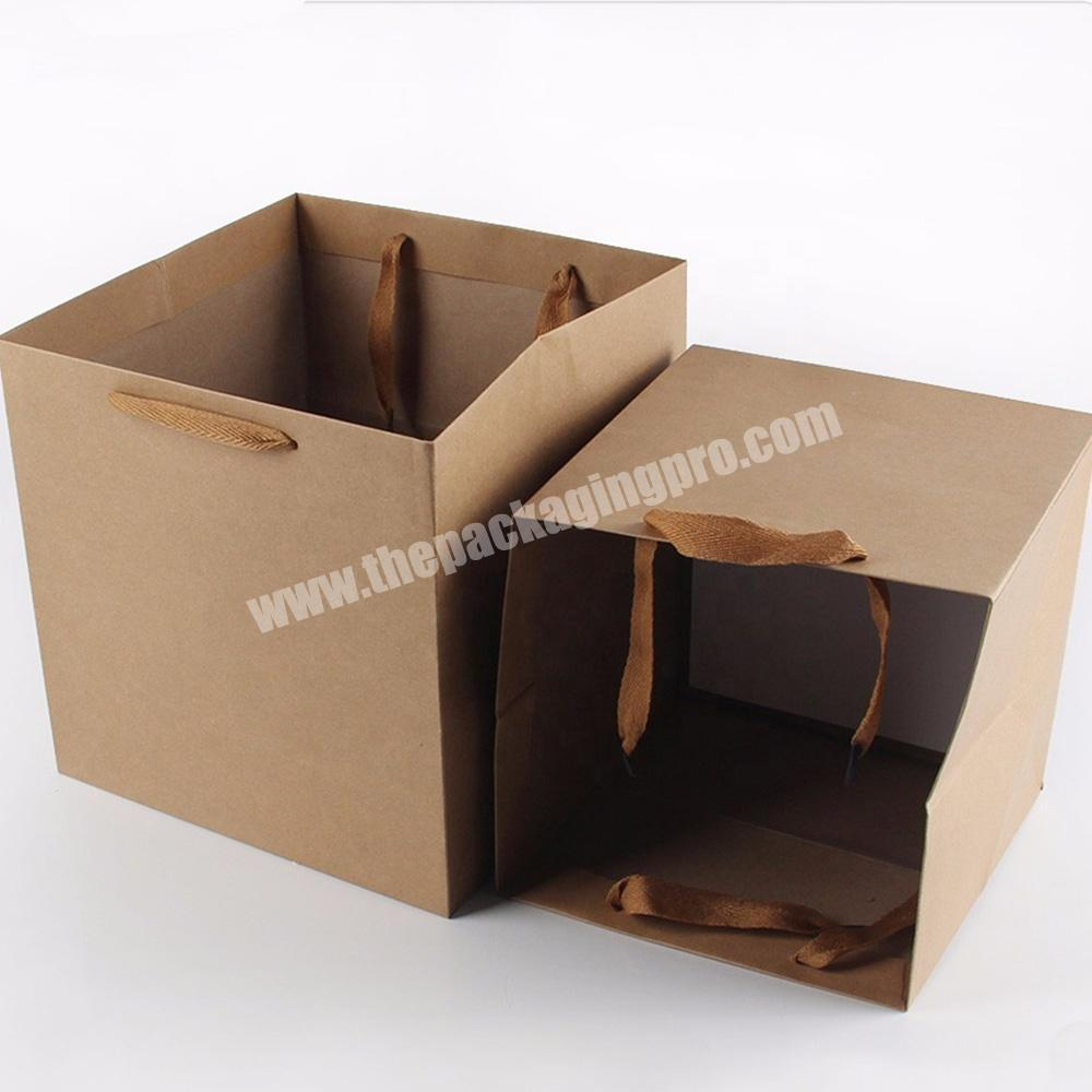 Factory large small flat industrial heavy duty kraft paper bags with flat handle