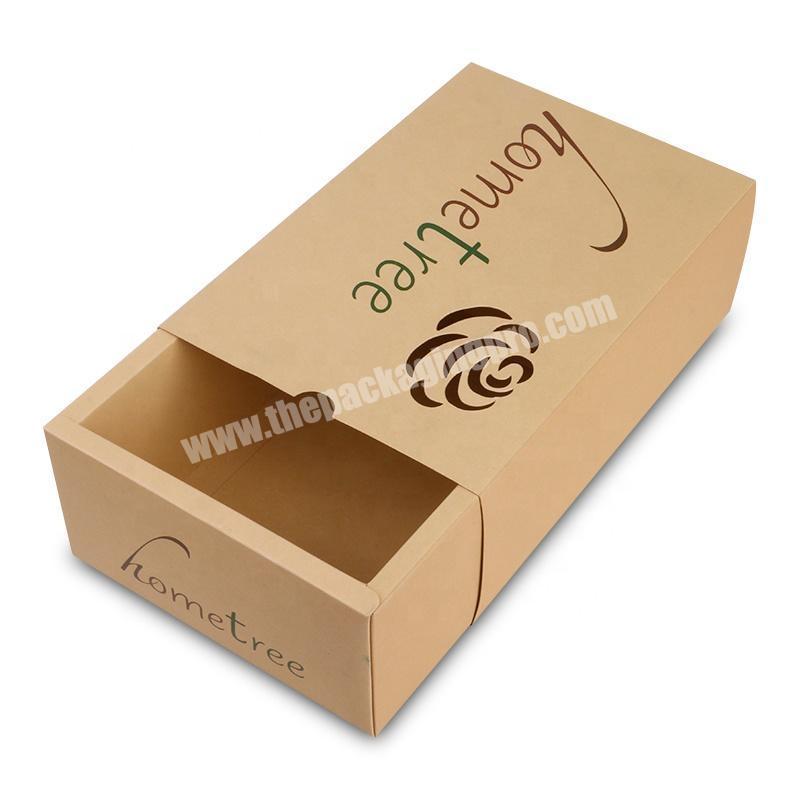 laser die cut logo eco friendly drawer sliding recycle brown kraft paper socks lingerie box packaging
