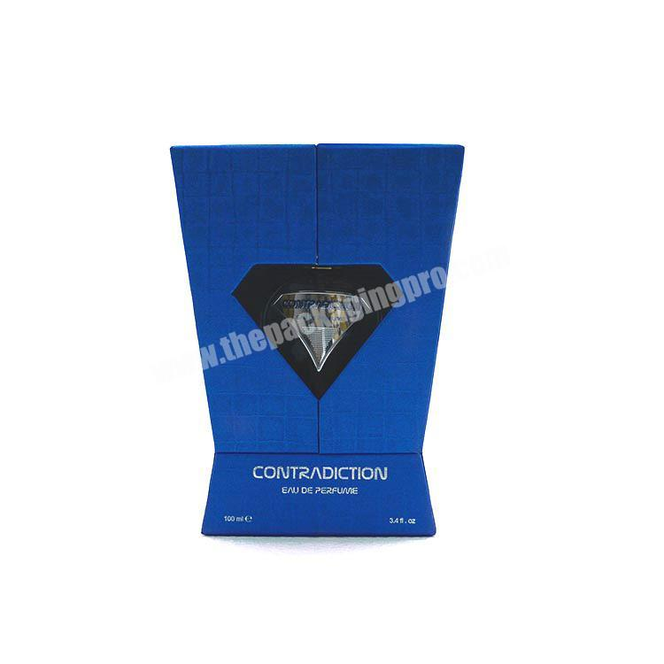 Latest hot sale package custom with special shape design for paper show case box best to perfume oil
