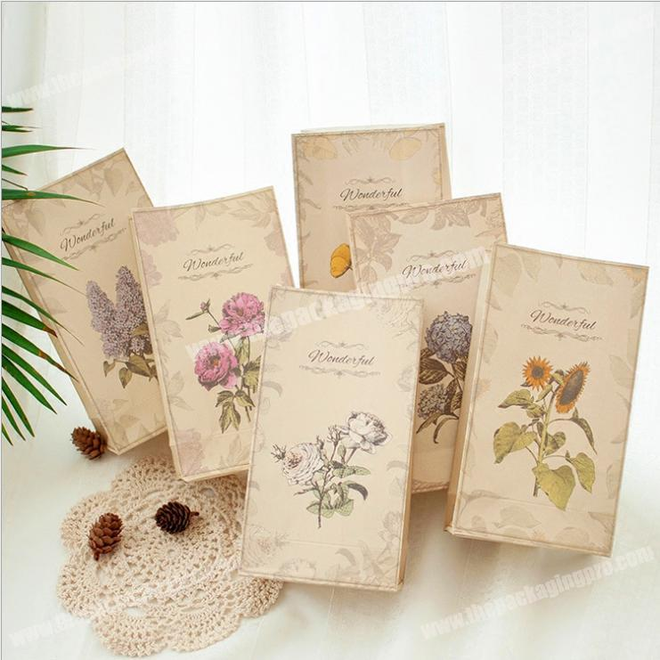 liquid Flowers retro gift paper bag with no handle innovative small fresh Christmas holiday candy packaging bag