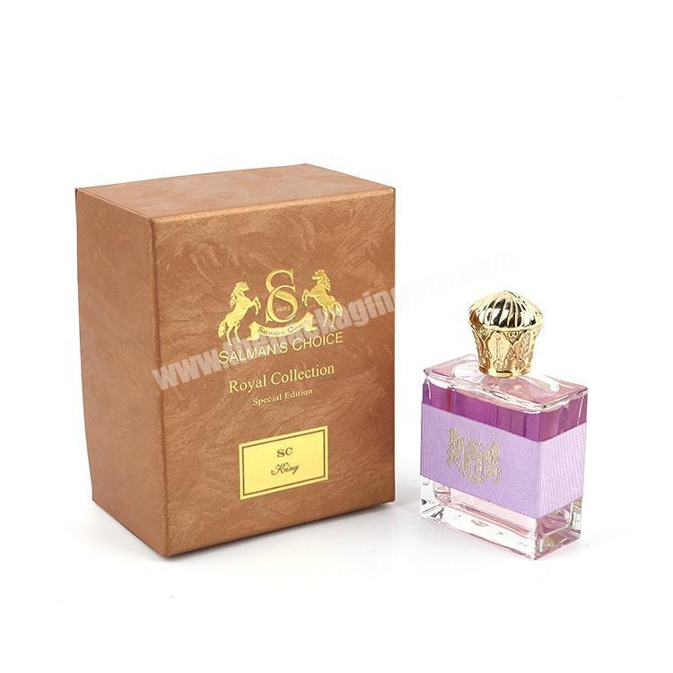 Supplier Logo Hot Stamping Cardboard Paper Packaging Top Lid And Bottom Base Gift Perfume Bottle Box With Inserts