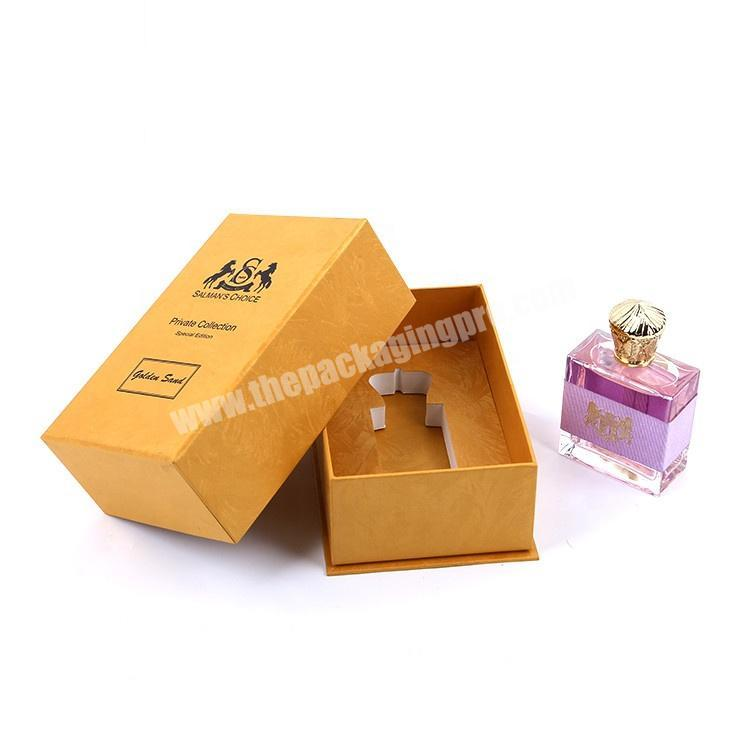 Wholesale Logo Hot Stamping Cardboard Paper Packaging Top Lid And Bottom Base Gift Perfume Bottle Box With Inserts