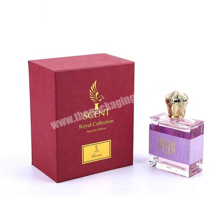 Factory Logo Hot Stamping Cardboard Paper Packaging Top Lid And Bottom Base Gift Perfume Bottle Box With Inserts
