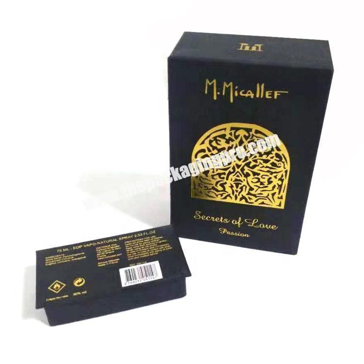 Luxury Black Recycled Cardboard Paper Packaging Perfume Gift Box With Printing