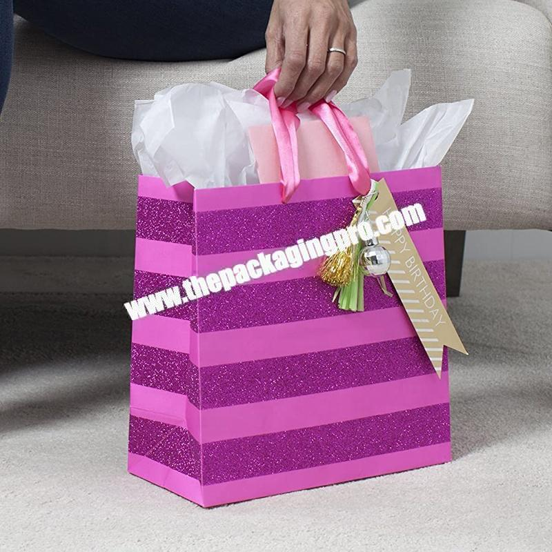 Luxury Boutique Packaging pink Paper Printed Clothing Gift Bag With Handle