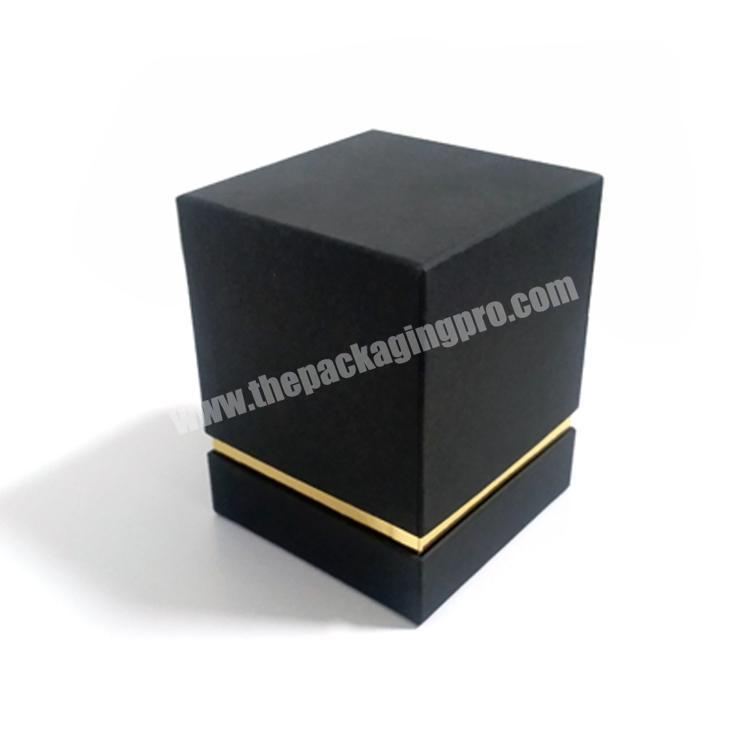 Luxury Cardboard Paper Packaging Black Lid Base Candle Cosmetic Sample Perfume Bottles Gift Box