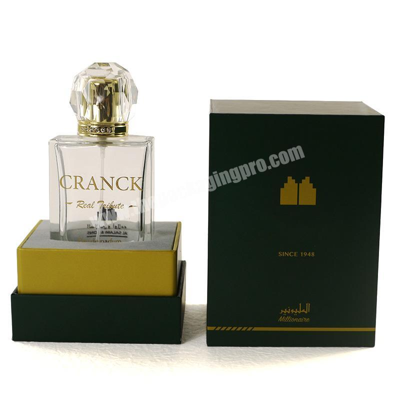 Wholesale Luxury colonge arabic perfume bottle with embossing and flocking perfume packaging box