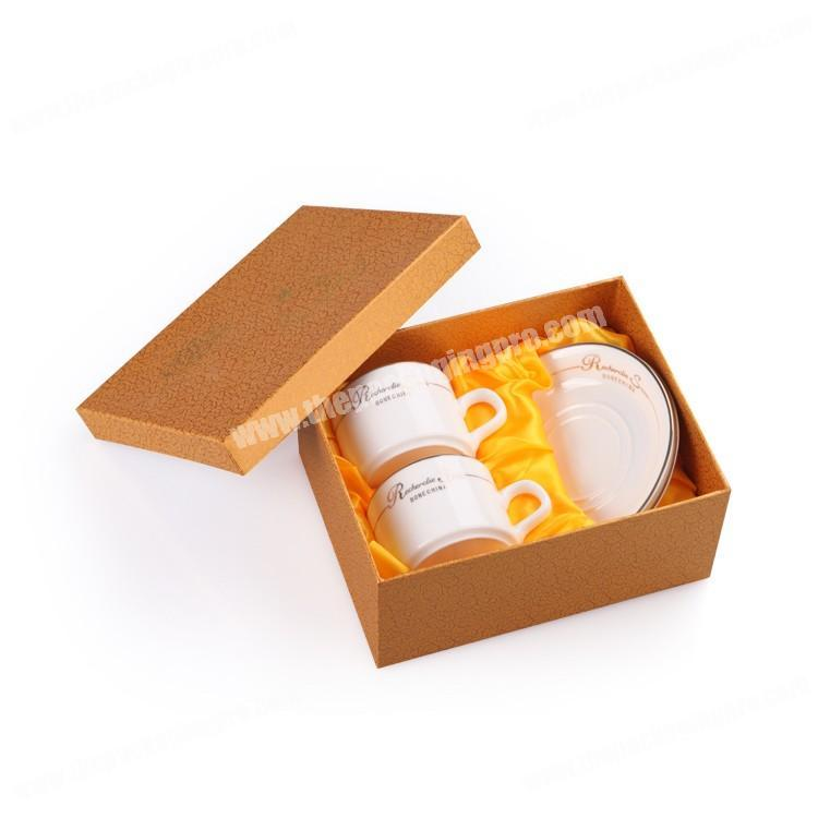 Luxury Custom Branded Cardboard Paper Lid and Base Rigid Satin lined Coffee Cup Gift Box Packaging
