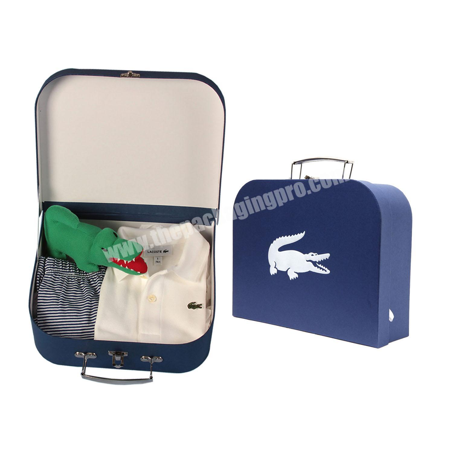 luxury custom cute baby clothing set suitcase gift paper packaging for clothes with logo