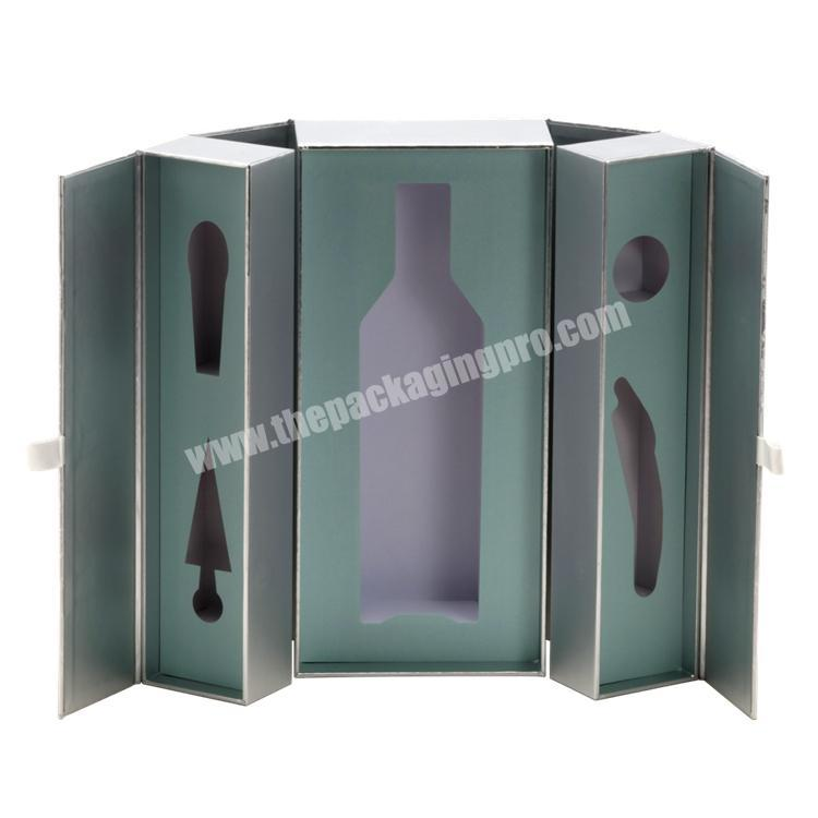 Luxury Custom Size Double Gates Paper Box With EVA Tray & Ribbon for WineBeverageChampagneGift