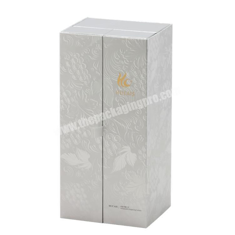 Wholesale Luxury Custom Size Double Gates Paper Box With EVA Tray & Ribbon for WineBeverageChampagneGift