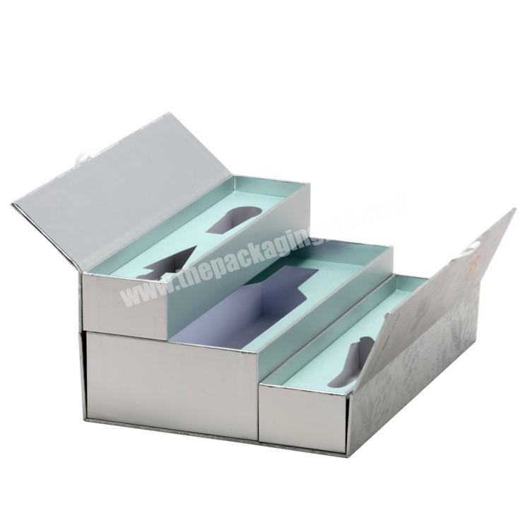 Factory Luxury Custom Size Double Gates Paper Box With EVA Tray & Ribbon for WineBeverageChampagneGift