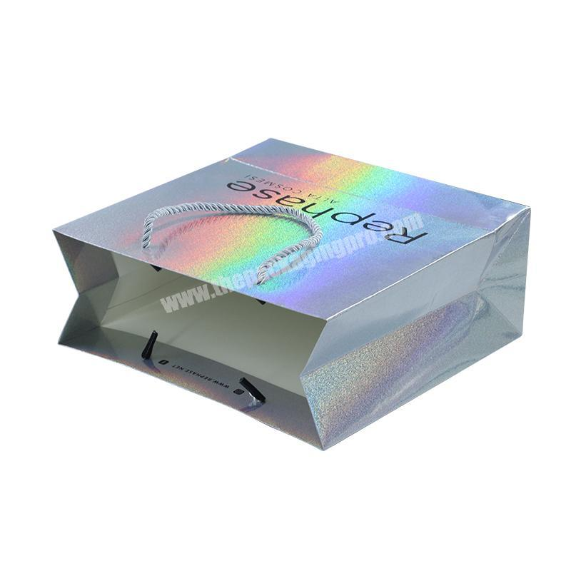 Luxury design high quality Europe standard custom make up packaging tote paper holographic bag for gift