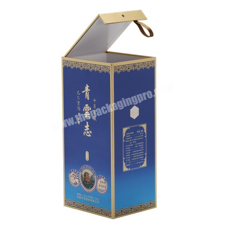 Luxury Fashion Lid Open Paper Box with EVA Tray & Ribbon For  WineLiquor