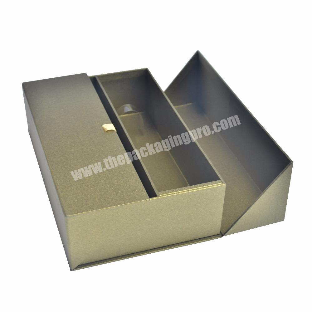 Luxury Gold Metallic Large Gift Packing Boxes With Flap And Silk Braid