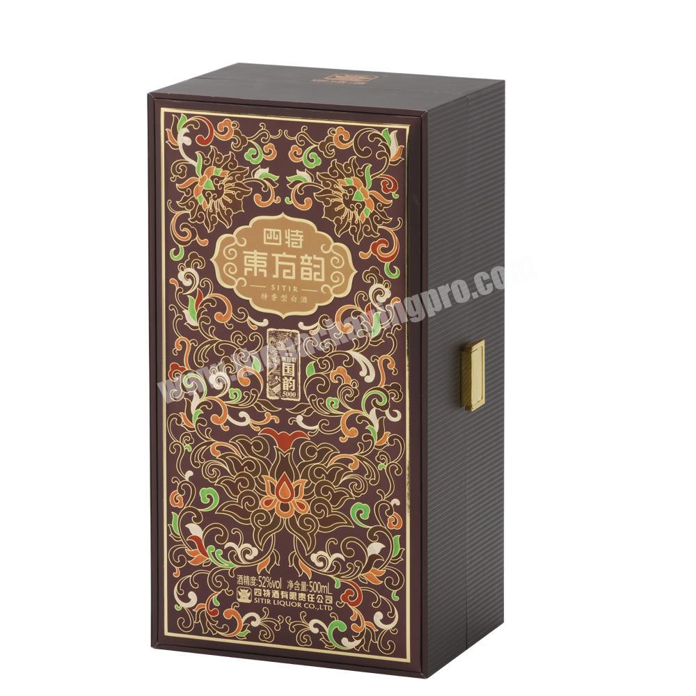Factory Luxury High-end Double Gates Rigid Paper Box with EVA Tray and Metal Button for Whisky &  Champagne