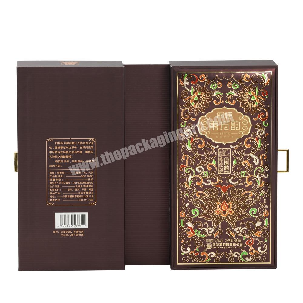 Manufacturer Luxury High-end Double Gates Rigid Paper Box with EVA Tray and Metal Button for Whisky &  Champagne