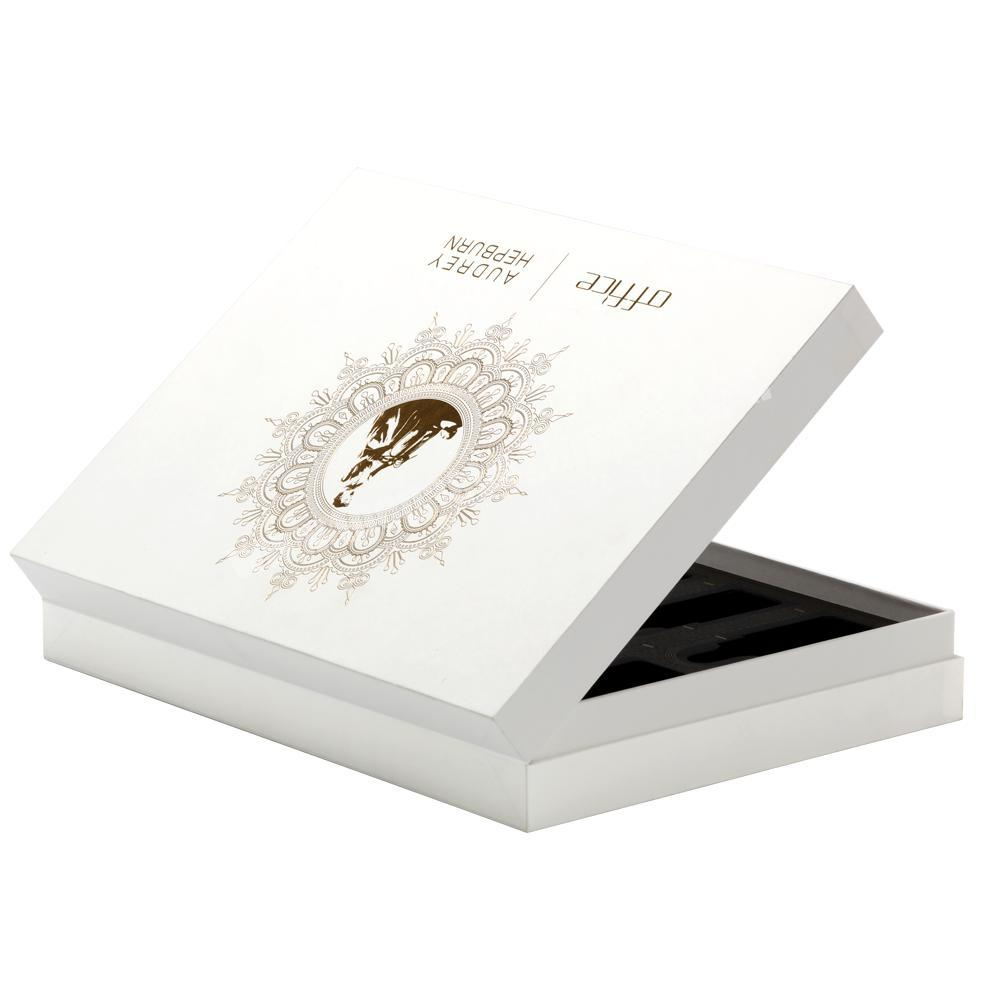 Wholesale Luxury High Quality Lid Hinged Base Rigid Paper Box with EVA Foam Tray & Ribbon for Health ProductEssential Oil