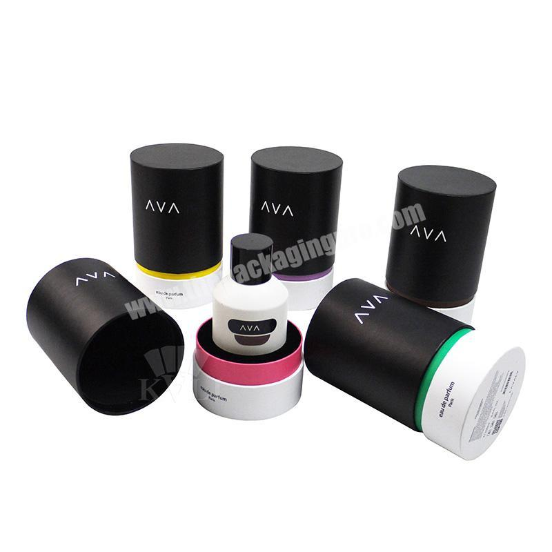 Factory Luxury paper empty perfume bottle boxes round tube perfume gift box packaging