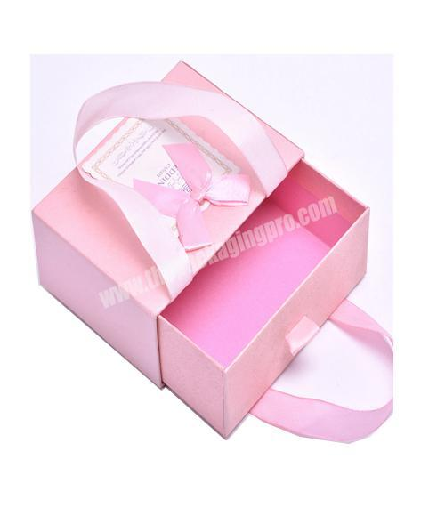 Luxury Rigid Cardboard Drawer Paper box with Ribbon handle for garment packaging