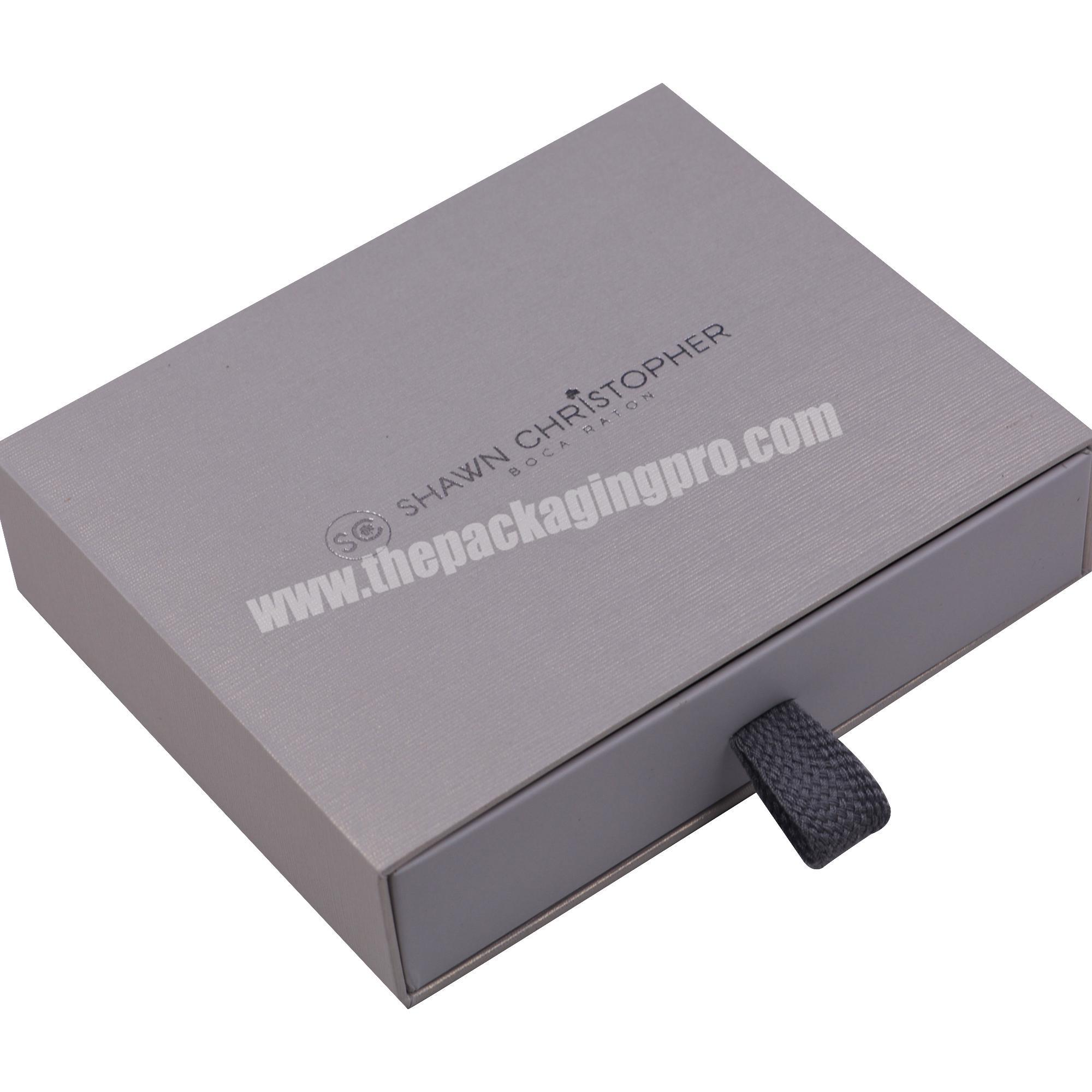 Luxury Rigid Silver Hot Stamping Fancy Specialty Paper Cardboard Gift Sliding Drawer Box Packaging