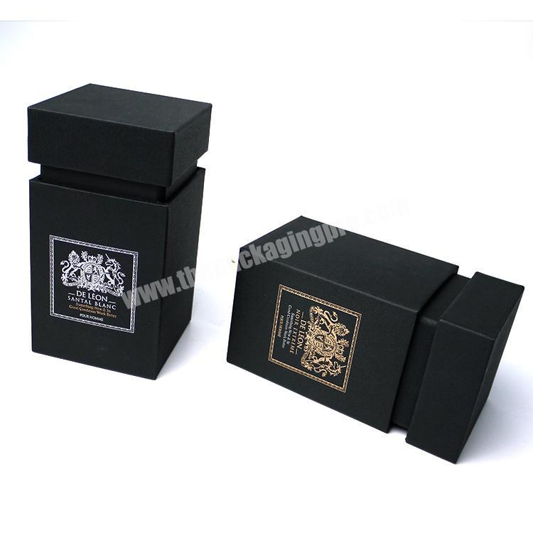 Luxury scent packaging fancy paper flip top perfume fragrance box with black cap