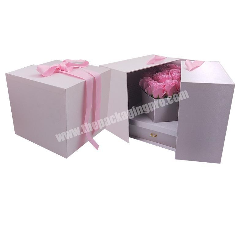 Manufacturer customized flower packaging box double layer flower box flower box luxury