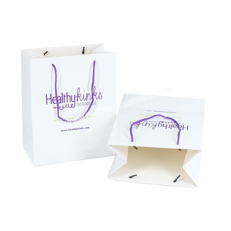 New custom logo shopping packaging 210gsm packing resealable high end paper shop bag for gift