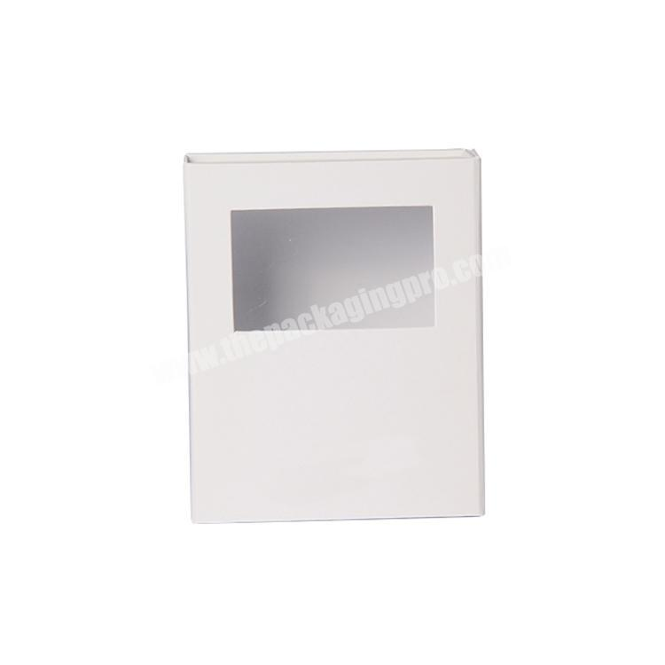 New Custom white fold gift paper book box with clear window perfume magnetic box luxury