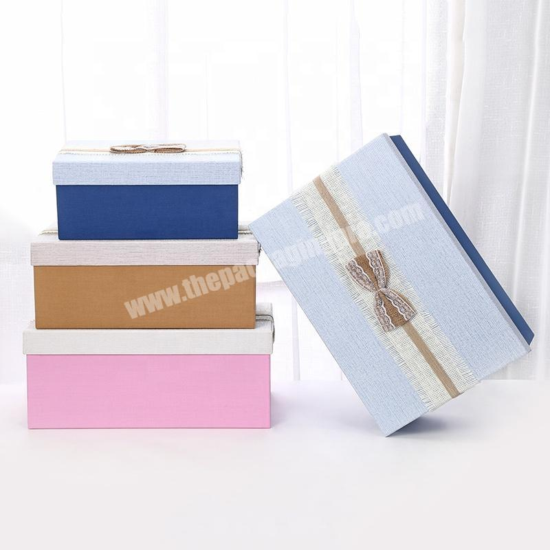New Luxury custom logo made cardboard clothing gift packaging box with ribbon
