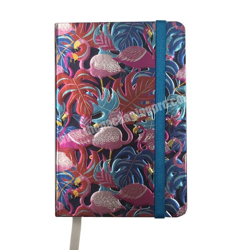 New Product 2020 Gold Foil Pink Flamingo A6 Notebook