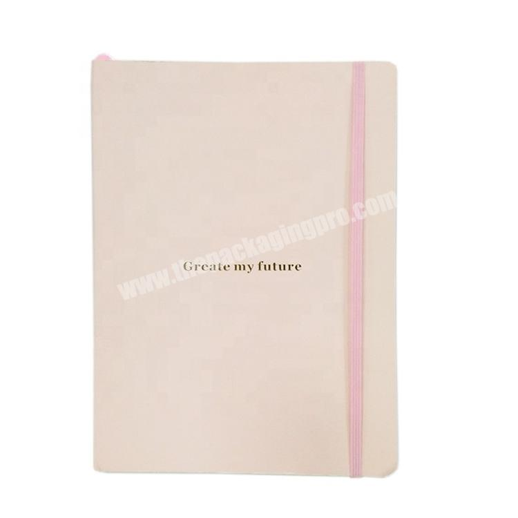 Nice quality hardcover journal full color printing diary custom logo notebook with elastic closure
