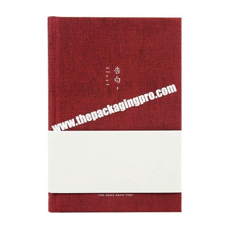 ODM OEM Customized Student Business Notebook Planner Logo Embossed Deboss Linen Cloth Cover Gold Silver Stamped Journal Diary