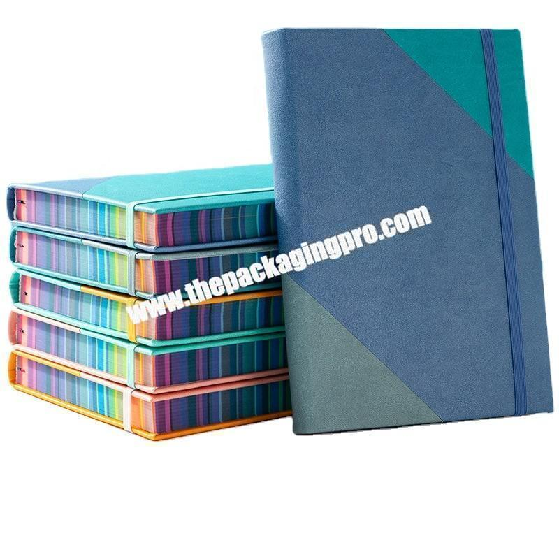 Wholesale ODM OEM Unique Leather Journal Planner Customized Logo Embossed Debossed UV Printing Notebook With Colored Painted Colorful Edge