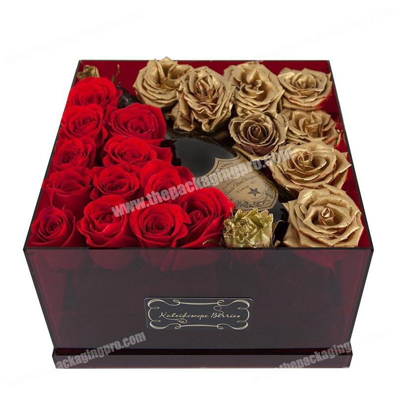 Personalized hot foil stamping luxury flower and red wine packaging gift box