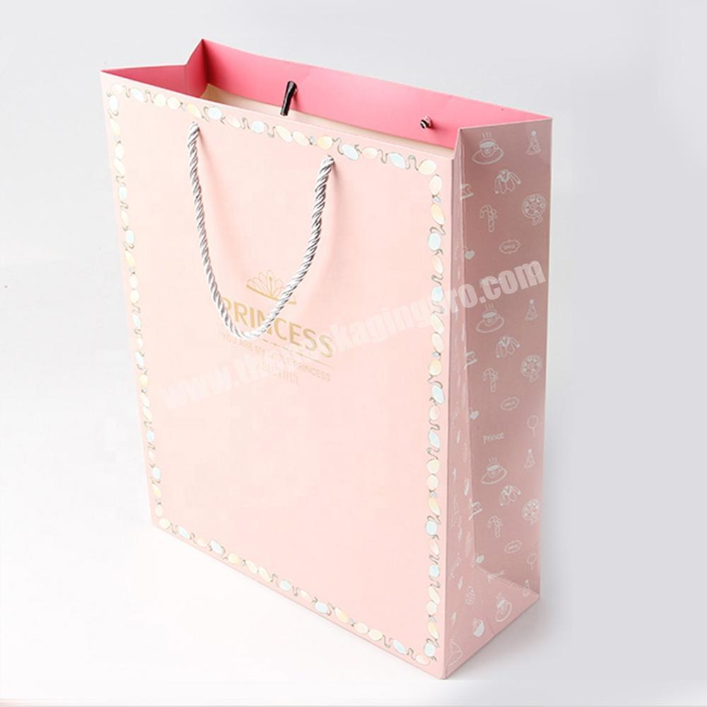 Custom pink jewelry packaging paper bags with logo for gift